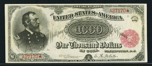 Het biljet van 1000 dollar (Heritage Auctions)
