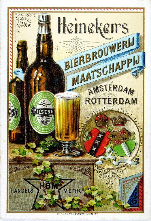 Reclamekaart voor exportbieren van Heineken's Bierbrouwerij Maatschappij, 1890-1900 (Stichting Heineken Collection)