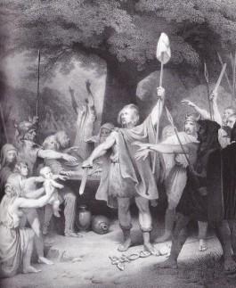 Verbeelding van de Bataafse mythe± de Batavier Claudius Civilus vertrapt een Romeinse standaard.