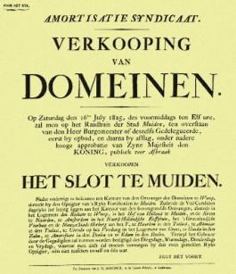 Aankondiging van de publieke verkoop 'voor afbraak' van het Muiderslot. Blijkens de vermelding 'Voor her Rijk' in de linker bovenhoek, was dat in het algemeen belang.