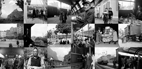 Collage van foto's van de Simplon Orient-Express door Jack Birns, 1950 - Retours