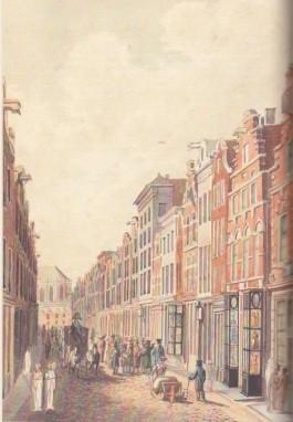 De Kalverstraat in Amsterdam, gezien naar de Dam. (Tekening door T. Tozelli, ca. 1820)
