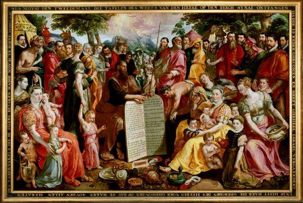 Maerten de Vos, Mozes met de tafelen der wet te midden van Israëlieten als portraits historiés verbeeld door de Antwerpse familie Panhuys met verwanten en vrienden, ca. 1574, olieverf op paneel, Museum Catharijneconvent, Utrecht