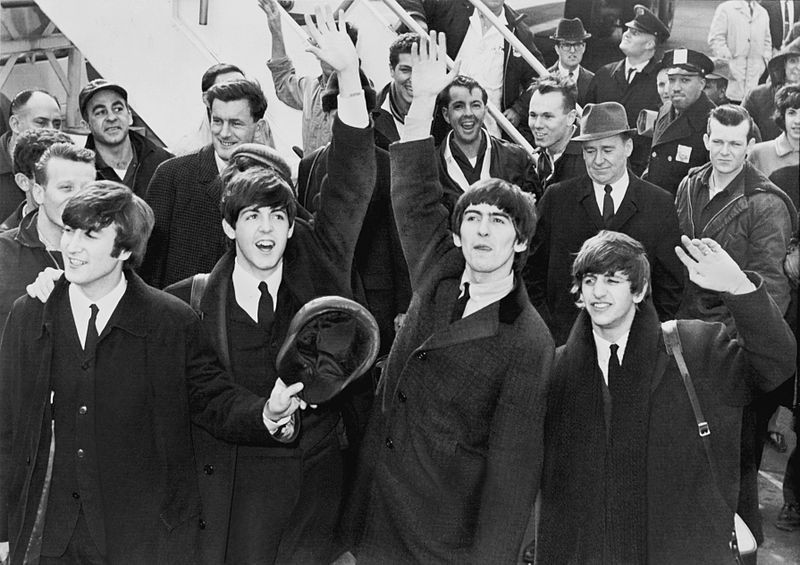 The Beatles bij hun aankomst in Amerika in 1964