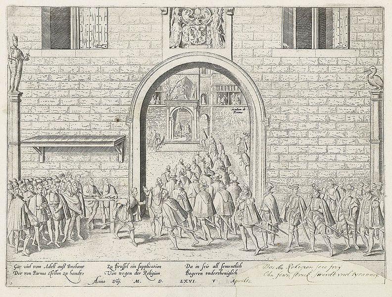 Aanbieding van het Smeekschrift van de edelen, Frans Hogenberg.