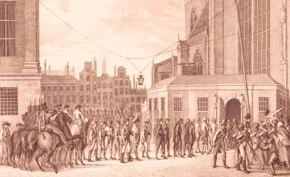 Soeverein Vorst Willem Frederik begeeft zich op 29 maart 1814 van het Koninklijk Paleis naar de Nieuwe Kerk in Amsterdam om de Grote Vergadering van Notabelen bij te wonen. Prent door Reinier Vinkeles naar een werk van Abraham Vinkeles (circa 1815).