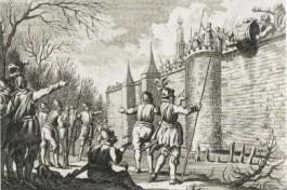 Haarlemmers rollen een ton met elf hoofden van Spanjaarden over de muur. Illustratie Harmanus Vinkeles (1788)
