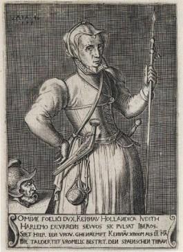 Portret van een gewapende Kenau met het afgehakte hoofd van ee Spanjaard. Volgens een aantekening van een tijdgenoot bij de afbeelding was ze in werkelijkheid 'volder' (dikker). Gravure (1573) van onbekende kunstenaar.