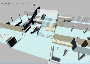 Ontwerptekening van de nieuwe trappenpartij van Museum Het Valkhof