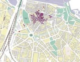 De gevolgen van het bombardement van Nijmegen. Het paars gekleurde gebied werd tussen 22 februari en eind september 1944 nagenoeg vernield