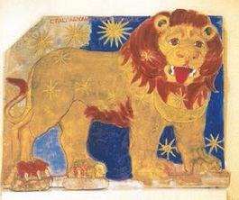 Ingekleurde leeuwenhoroscoop van Nemrud Dagi