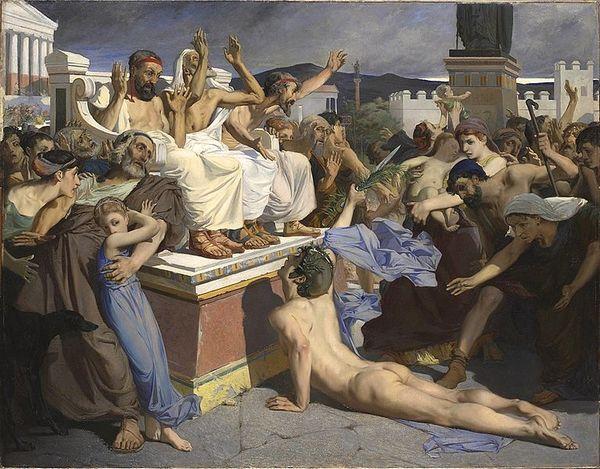 Met zijn laatste adem meldt Feidippides in Athene de overwinning op de Perzen bij Marathon (Luc-Olivier Merson, 1869)