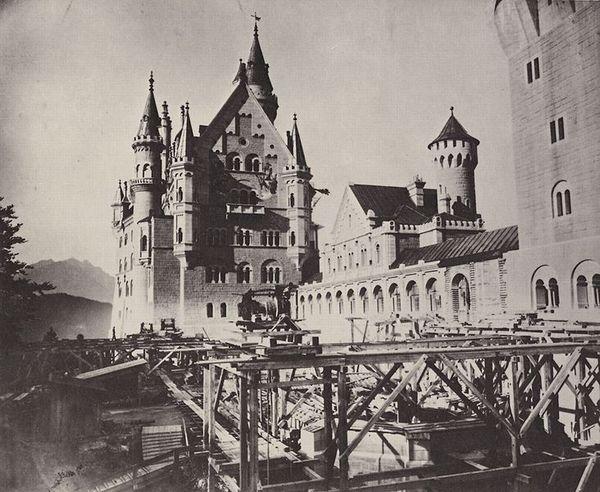 Slot Neuschwanstein in aanbouw, 1886 (Staatsbibliothek Augsburg)