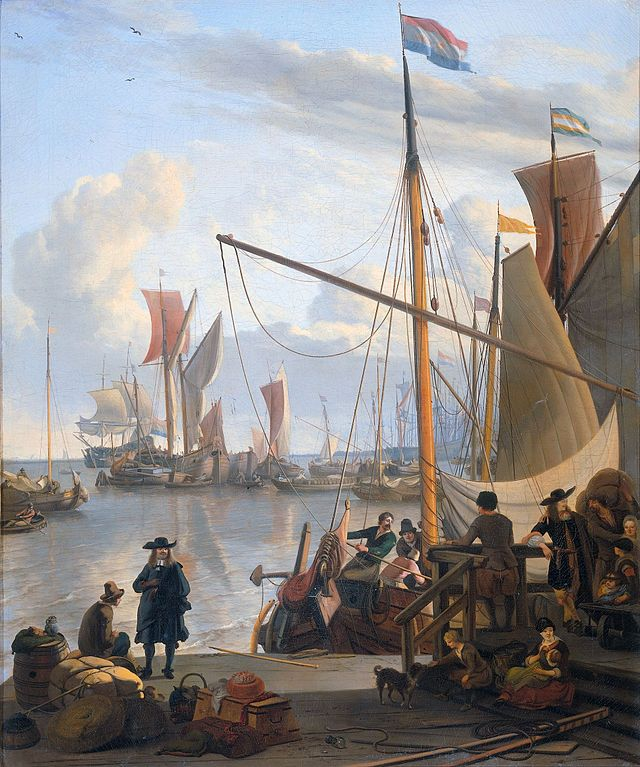 Aan het IJ, door Ludolf Bakhuizen in 1673 (Rijksmuseum Amsterdam)