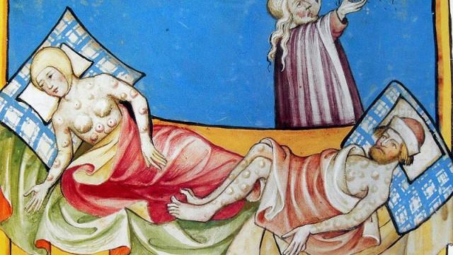 Afbeelding van de Zwarte Dood in de Toggenburg-bijbel (1411)