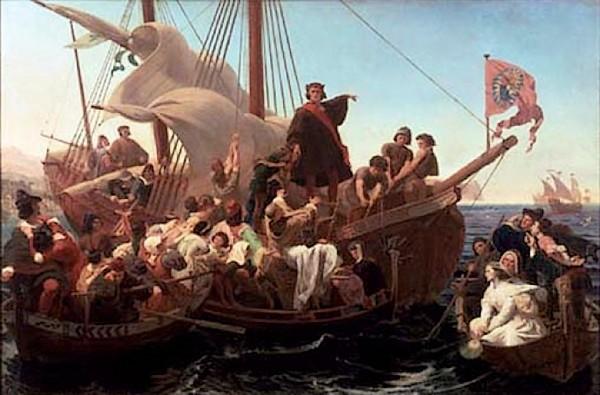 Columbus op de Santa Maria, 1492 (Emmanuel Leutze)