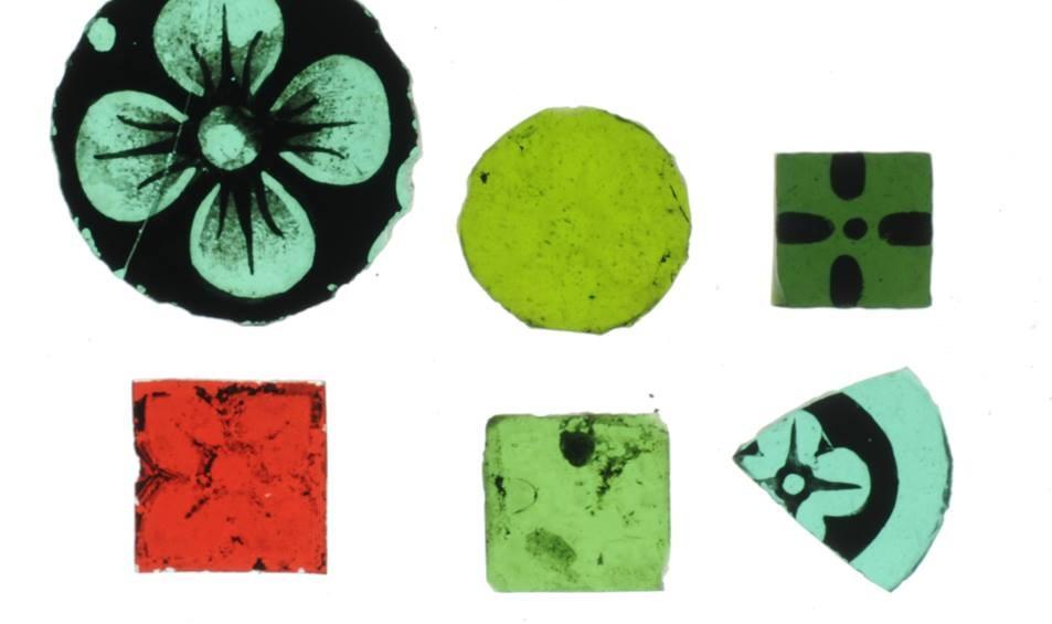 Glasfragmenten die in Roermond gevonden zijn
