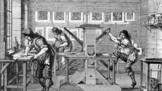 Toen de drukker begreep dat de inhoud godslasterlijk was, zette hij de pers stop waarop 'Het Ligt schijnende...' werd gedrukt. Plaatdrukkerij op een ets van Abraham Bosse. (1643)