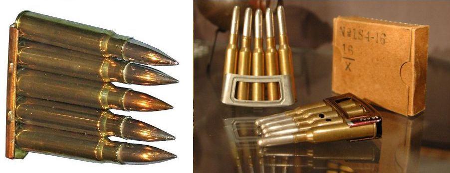 Links 7,92 mm clip voor Mauser 98K, rechts M.95 (oefen)munitie (foto: www.grebbeberg.nl -bewerkt, patronen niet op dezelfde schaal)