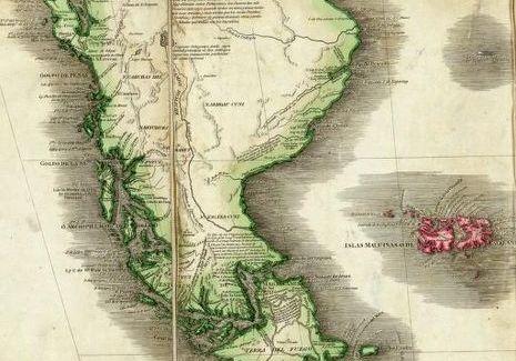 Patagonië op een kaart uit 1775