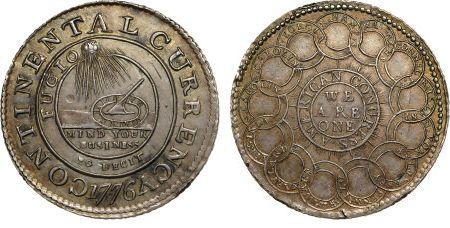 Voor en achterzijde van de dollarcent uit 1776 (Heritage Auctions)