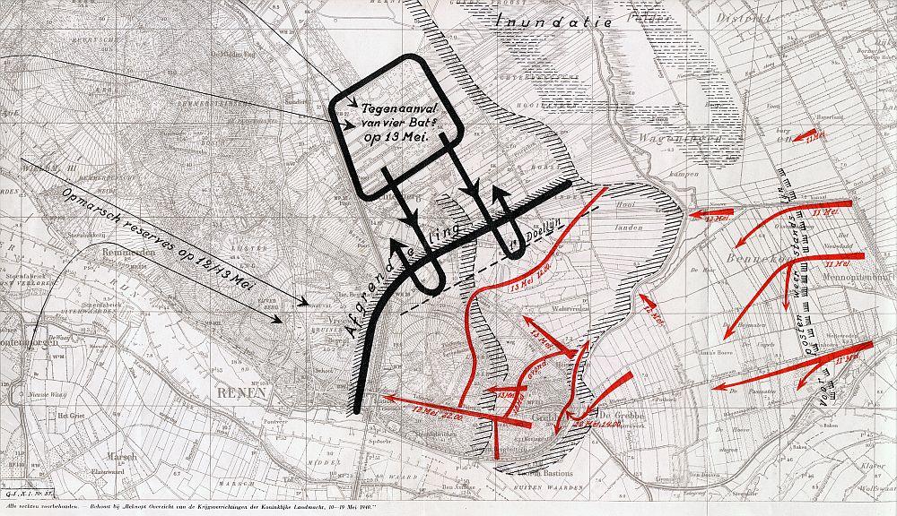 Stafkaart tegenaanval op Grebbeberg 13 mei (foto: grebbeberg.nl)