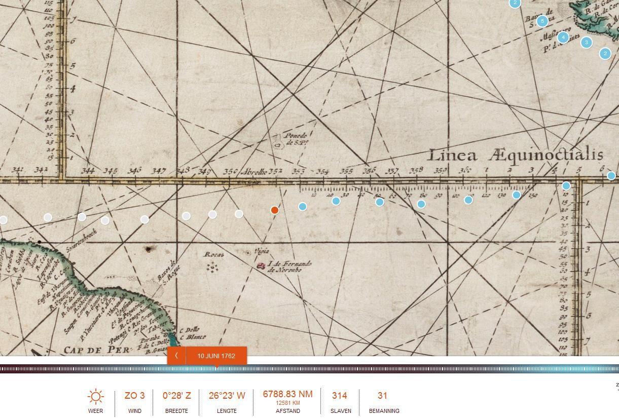 Op 10 juni 1762, 252 jaar geleden,  bevond d' Eenigheid (oranje stip) zich op de Atlantische Oceaan, vlak onder de evenaar, op 0º28' Z, 26º23' W, op 12.581 km van huis, op weg naar Amerika.