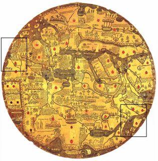 Borgia map uit ongeveer 1430. Het linker kader bovenin geeft de ligging van de Hof van Eden aan; het rechter kader onderin is onze omgeving met Engeland en Schotland. Ten opzichte van de andere mappae mundi is deze een kwartslag gedraaid vanwege de leesbaarheid van de teksten.