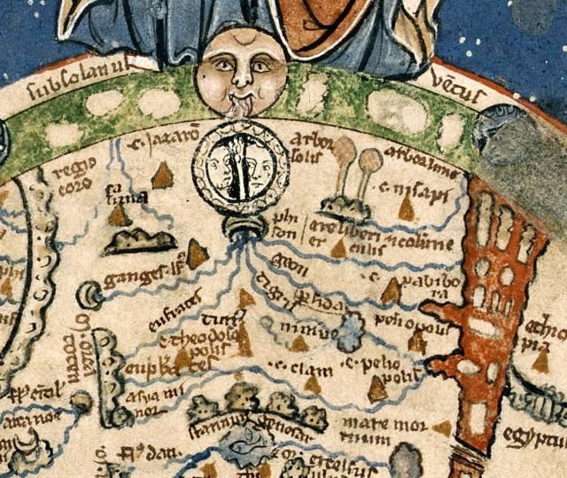 Detail van de Psalter-kaart (1260-1265) waarop niet vier, maar vijf stromen zijn weergegeven: Ganges, Eufraat, Tigris, Gichon en Pison
