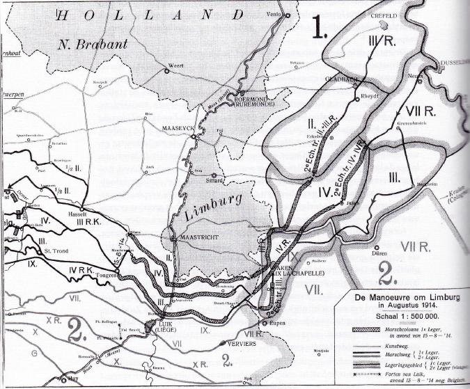 Legerbrochure uit 1919, waarin wordt gesteld  dat het Duitse leger de Nederlandse neutraliteit in 1914 nauwgezet had gerespecteerd. (Uit brochure 'De manoevre van Limburg in 1914')