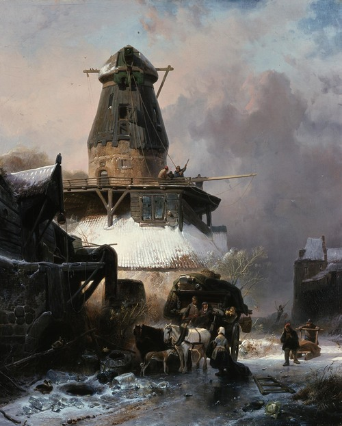 Wijnand Nuijen -  De oude molen in de winter, 1838 (Den Haag, Gemeentemuseum)