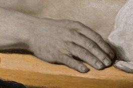 Rembrandt gaf crimineel rechterhand (detail schilderij)