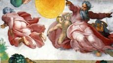 Schepping van sterren en planeten volgens Michelangelo (Sixtijnse Kapel)