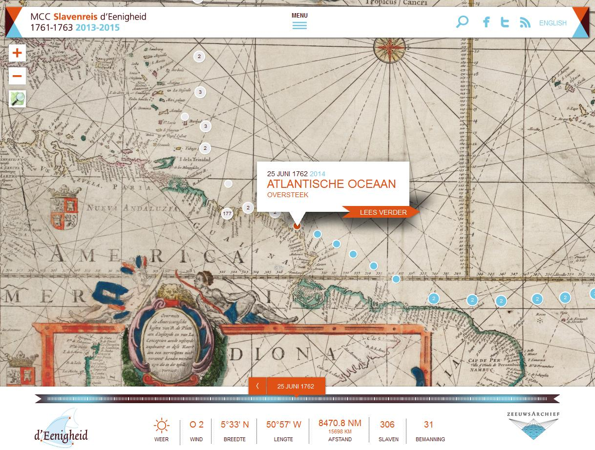 Positie van d' Eenigheid (oranje stip) toen 'land in zicht' kwam op 25 juni 1762. Op een landkaart van die tijd de afgelegde route (blauw en toekomstige reis (wit) weergegeven en onderop de stand van zaken op dat ogenblik: 306 slaven en 31 bemanningsleden. (Website d'Eenigheid)