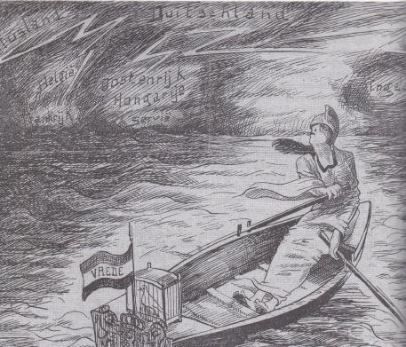 De Nederlandse maagd, roeiend in het noodweer: 'Als ik maar met mijn duifje tusschen het onweer door kan bijven roeien'. (Tekening Chr. Verschuuren in De Roskam, 24 december 1914)