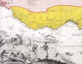 Kaart van West-Afrika, één van de gebieden waar de schepen van de MCC hun slaven kochten. (In: Geschiedenis van de MCC, uitgegeven door de erfgenamen Homann