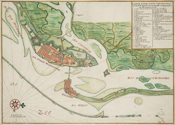 Mauritsstad en Recifce op een kaart van Johannes Vingboons uit 1665 (Nationaal Archief)