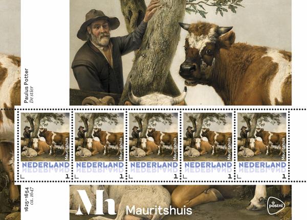 Postzegel met 'De Stier' van Potter