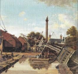 Amsterdamse scheepswerf van Pieter Haverkamp, die door de MCC-directie naar Middelburg werd gehaald en daar in veertien jaar achttien fregatten en barken en twee stoomschepen op stapel zette. (1825, Rijksmuseum)