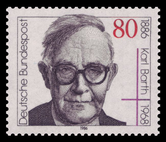 De Zwitserse theoloog Karl Barth op een Duitse postzegel (1986)