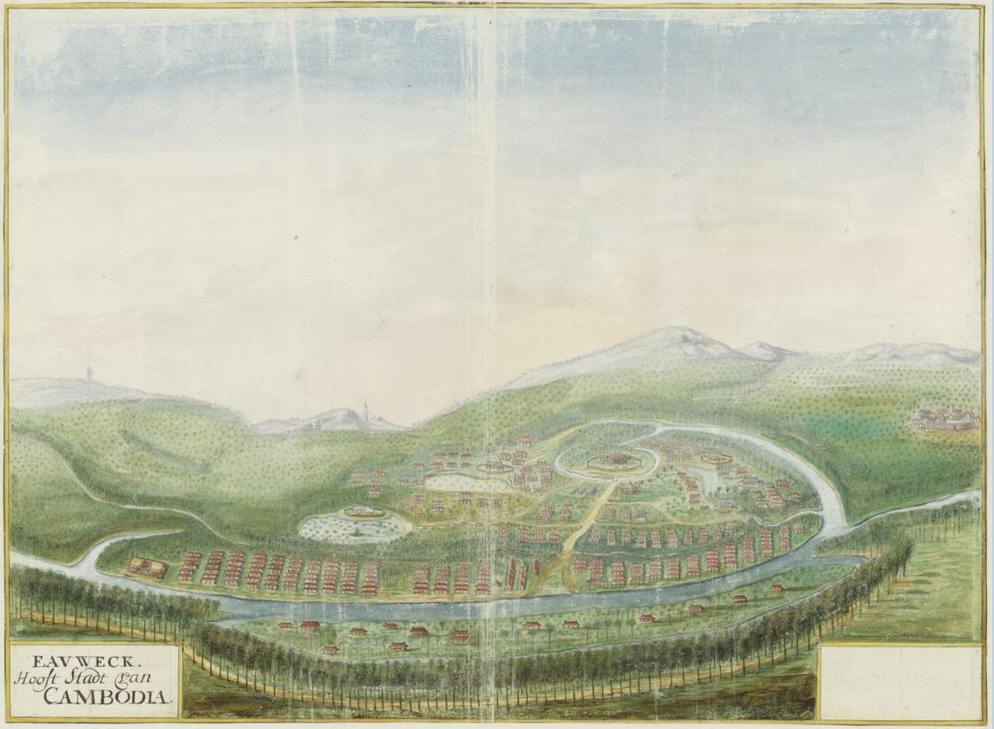 'Eauweck hooft stadt van Cambodia' Gezicht in vogelvlucht op Eauweck ofwel Lawec/Lovek/Khum Peam Lvek, Cambodja (1665) Johannes Vingsboom. Nationaal Archief.