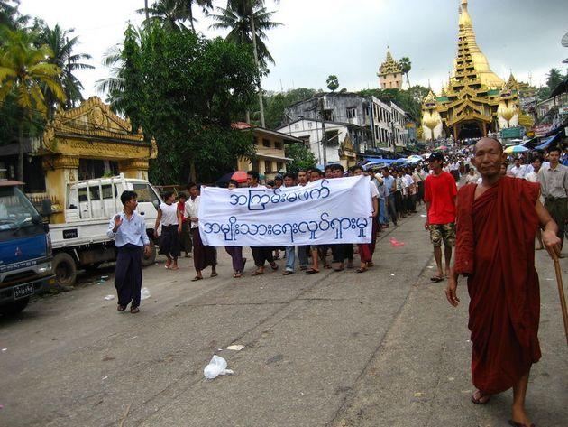 Protesten tegen de regering van Myanmar in 2007 - cc