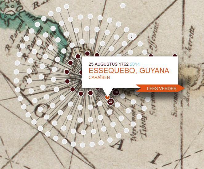 Essequebo lag op een eiland in de gelijknamige rivier. Het Fort Zeelandia ligt onder. De 'kley grond' blijkt in de 'reegentijd'zeer swampachtig.