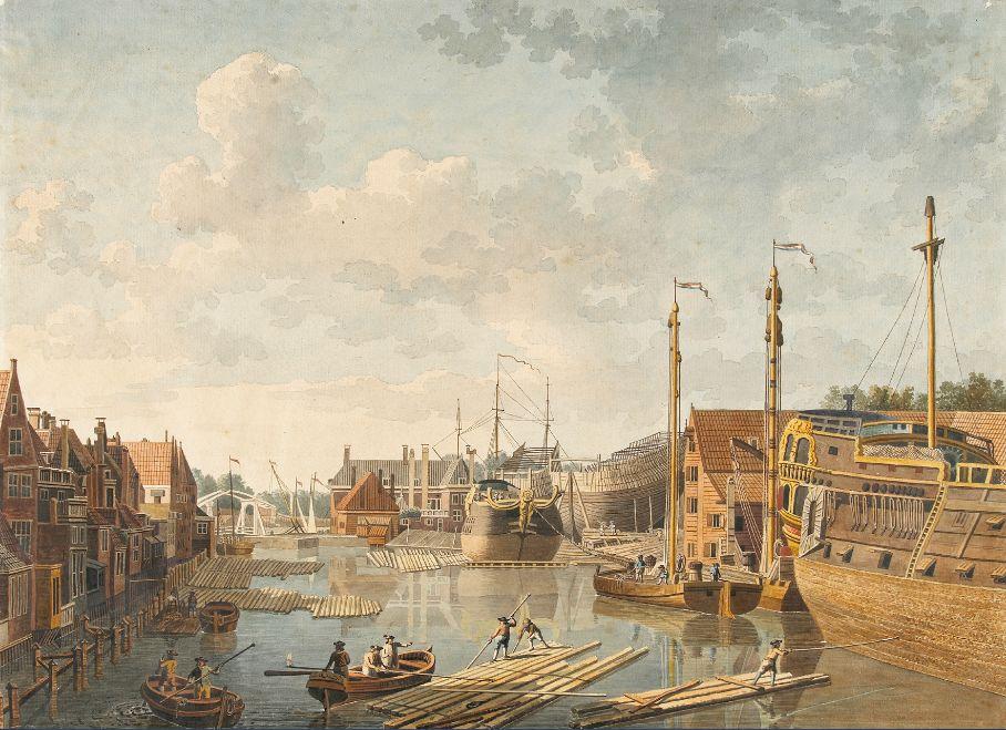De 'scheepstimmerwerf' van de Kamer Zeeland van de VOC in Middelburg. Tekening door Jan Arends, 1778.