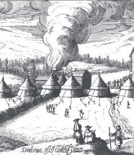 Goeteeris portretteert zichzelf als tekenaar op de reis bij het kampement van de vredesbesprekingen (detail van gravure uit het Journaal)