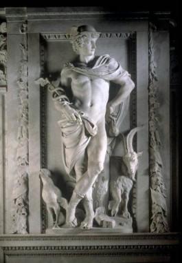 Een beeld van Artus Quellinus van de god Mercurius, met links onderaan een haan - cc