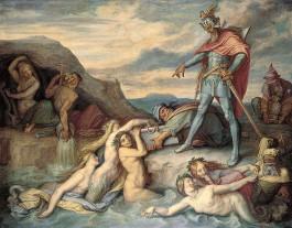 Hagen werpt de Nibelungenschat in de Rijn. Peter von Cornelius 1859 (Peter von Cornelius)