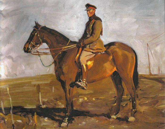 Schilderij van oorlogspaard Warrior - Alfred Munnings , 1918