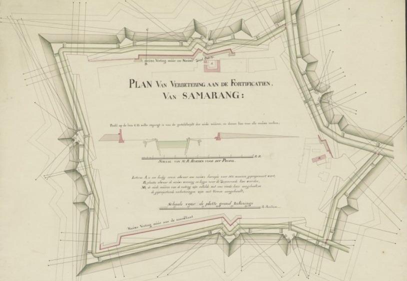 Semarang. Plan van de stad Samarang met de profilen der fortificatien Nationaal Archief