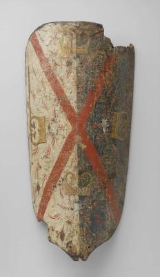 Bourgondisch wapenschild met Andreas-kruis en vier vuurslagen. Amsterdam, Rijksmuseum, inv. NG-KOG-2517-C.